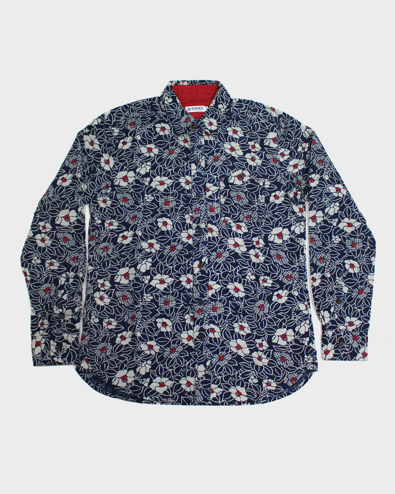 Button-Up Shirt Long-Sleeve Indigo Tsubaki