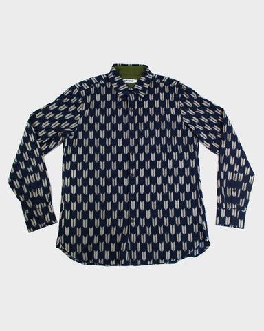 Button-Up Shirt Long-Sleeve Indigo Yagasuri