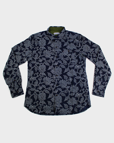 Button-Up Shirt Long-Sleeve Indigo Katazome