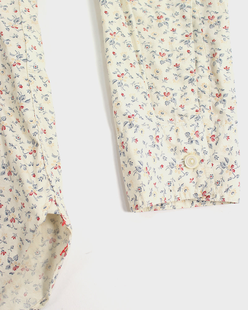 Sugar Cane Shirt Long Sleeve, Floral, Red and Blue (M)