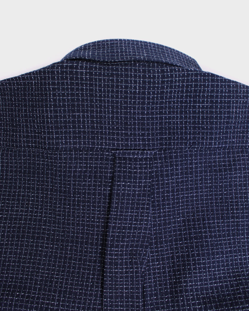 Long Sleeve Button-Up Indigo Shijira, Small Grid
