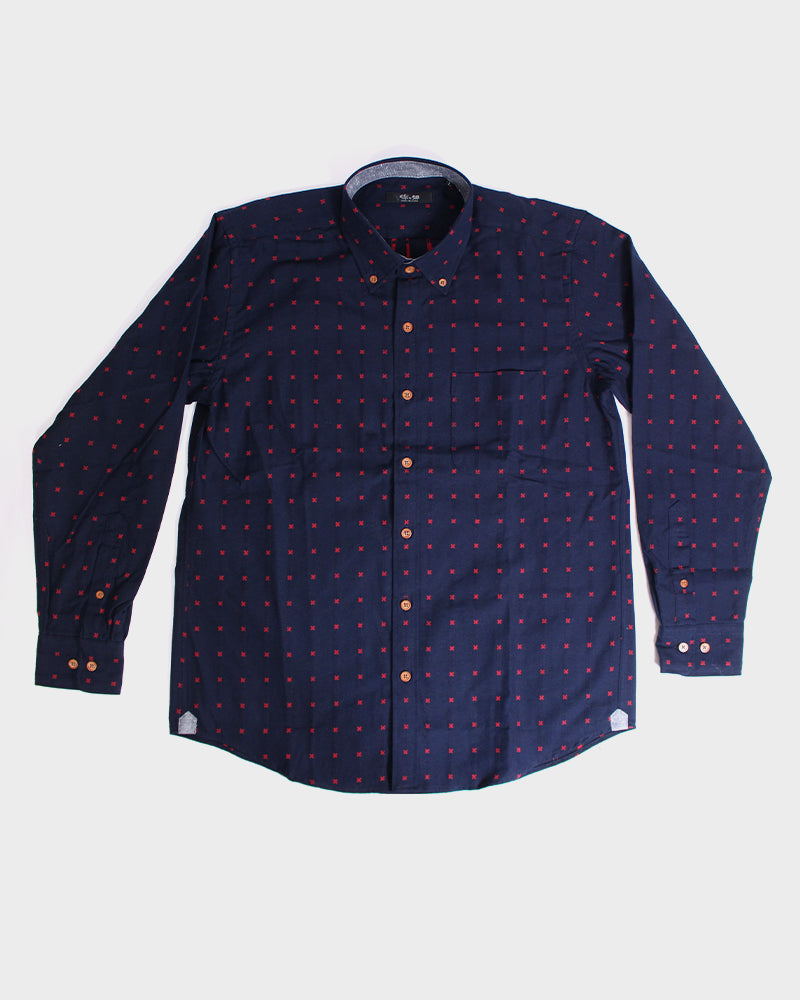 Long Sleeve Button-Up Indigo with Red 'X' Stitching