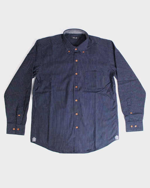 Long Sleeve Button-Up Indigo Thin Shima