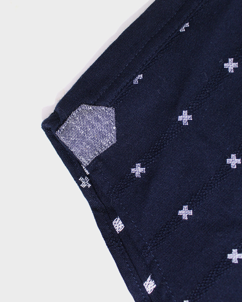 Long Sleeve Button-Up Indigo, with White 'X' Stitching