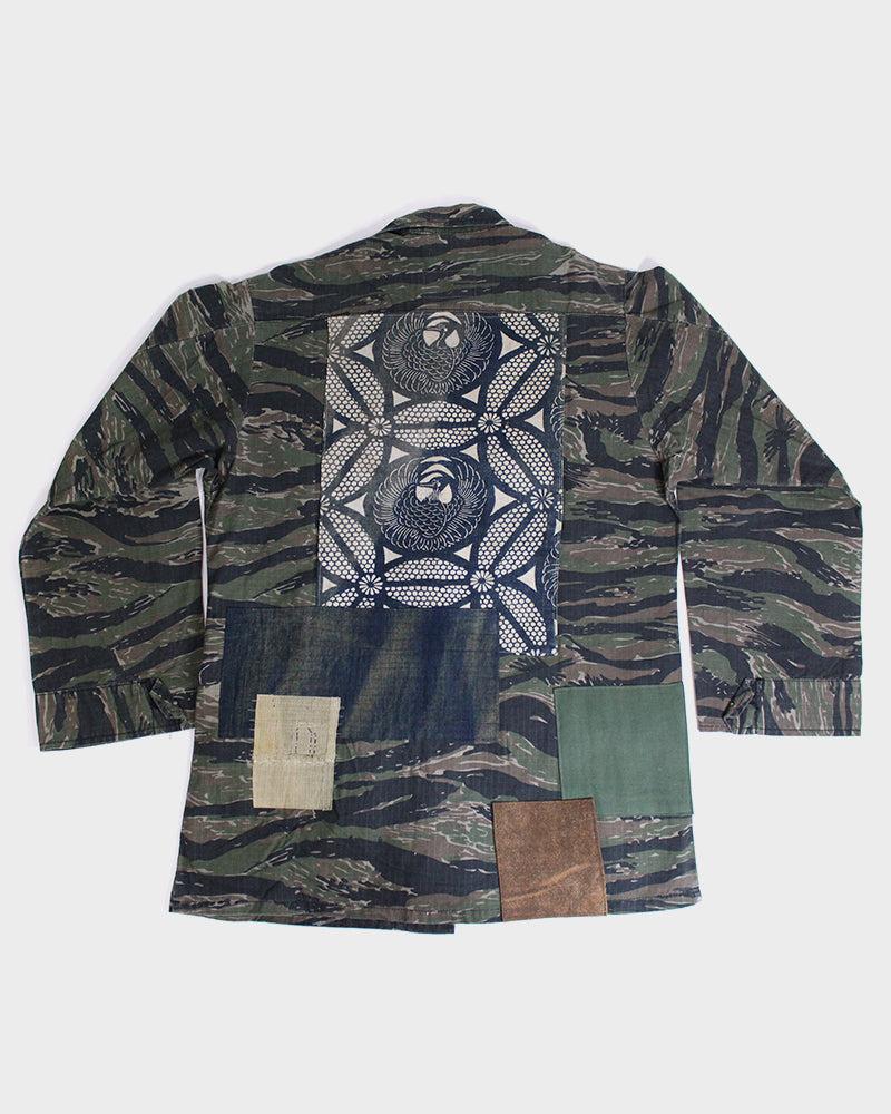 Camo Patched Military Jacket, with Cream Katazome and Boro Shima