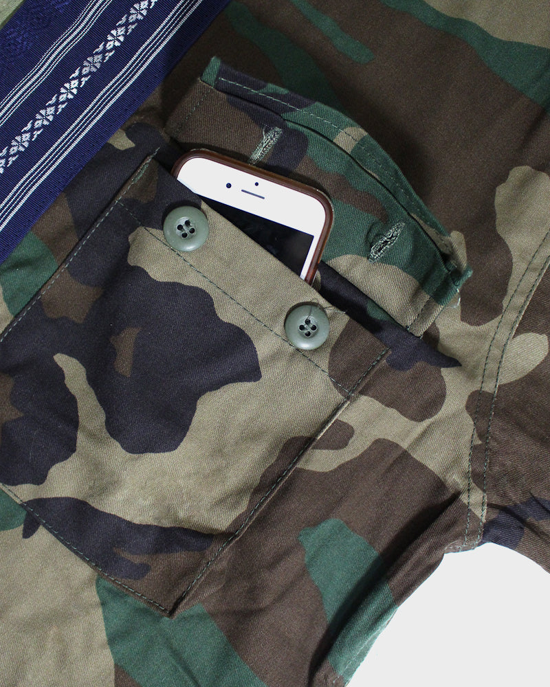 Camo Patched Military Jacket, with Blue Obi Collar