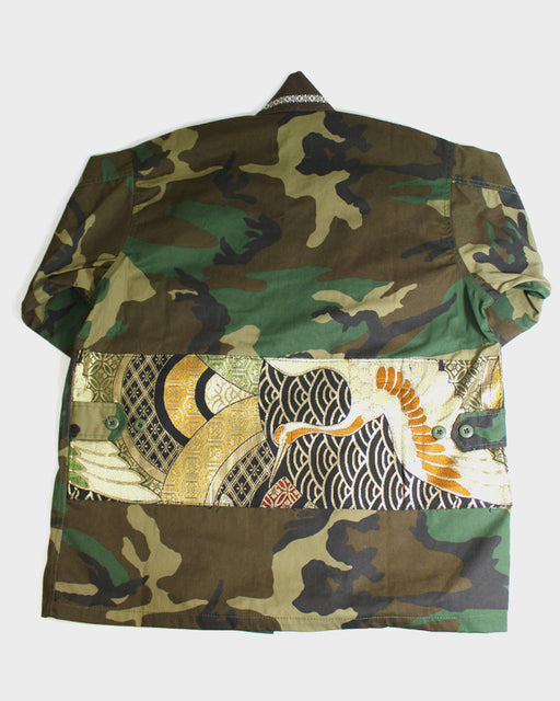Camo Patched Military Jacket, with Brown Obi Collar