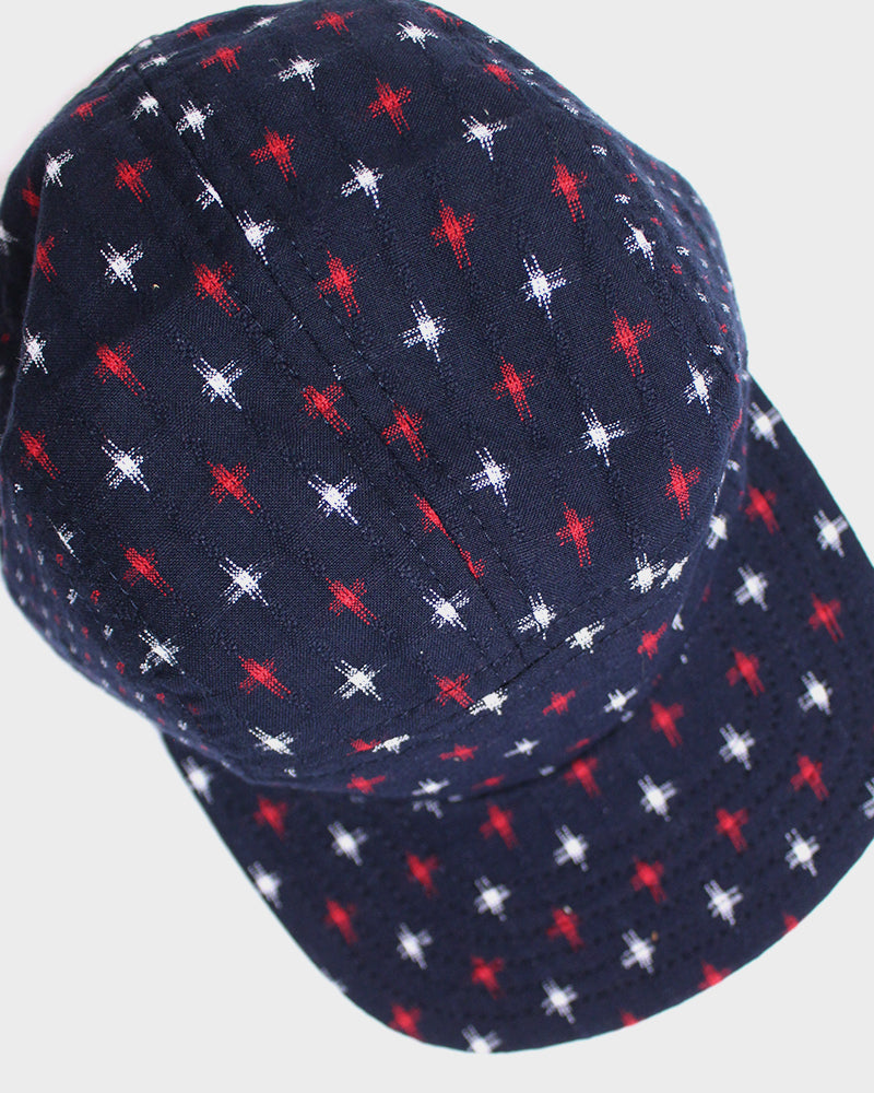 5-Panel Two Tone Cap, Navy with White and Red Jyuji