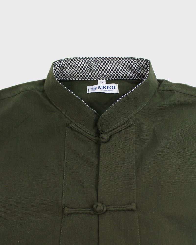 Mandarin Collar Jacket with Military Pocket, Military Green