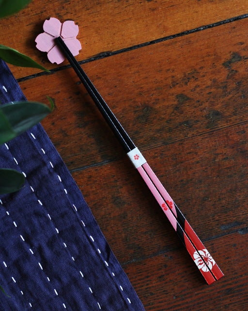 Chopsticks and Rest Set, Black & Pink Sakura
