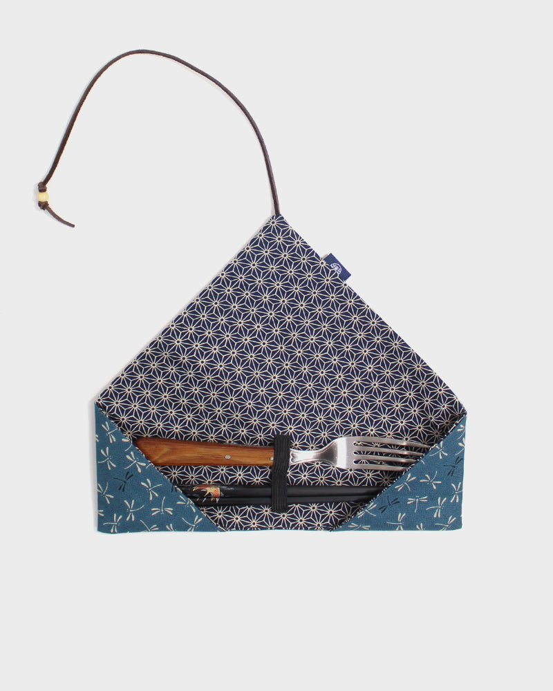 Chopstick Case, Teal Tonbo, with Indigo Asanoha