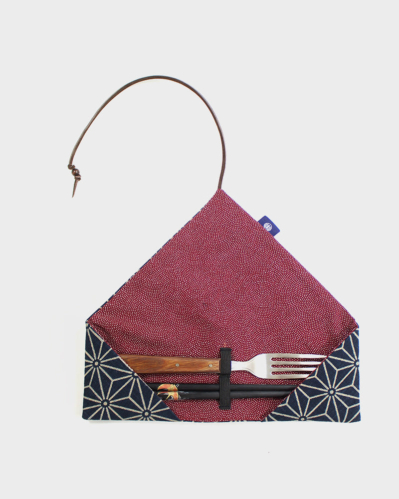 Chopstick Case, Indigo Asanoha with Red Komon