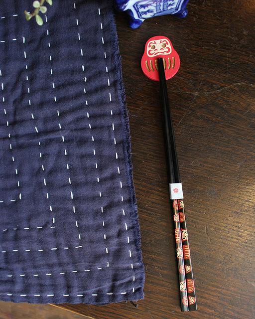 Chopsticks and Rest Set, Red Daruma