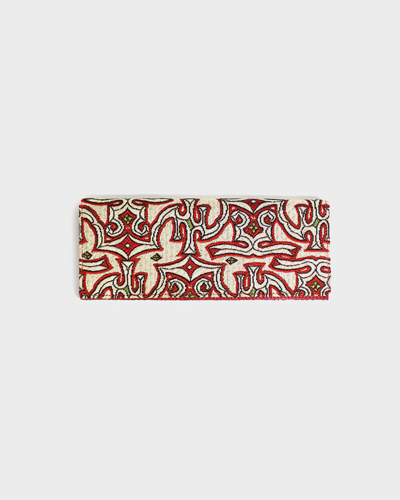 Ainu Pirika Weave Clutch, Red and Gold