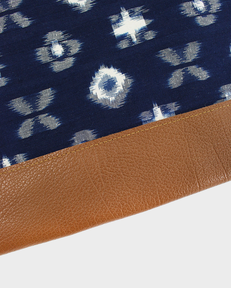 Indigo and Cream, Kasuri Abstract Flowers, Short Clutch