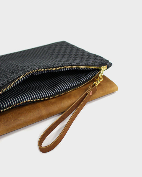 Foldable Gray Sashiko Leather Clutch