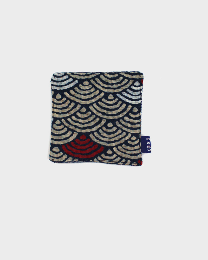 Coaster Set of 5, Indigo and Red Seigaiha