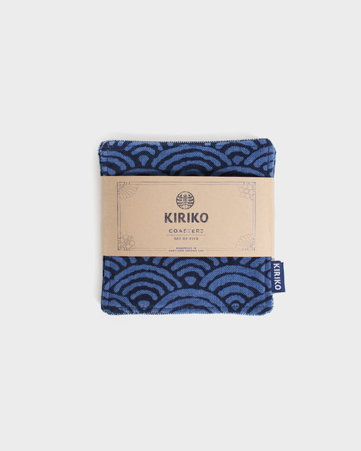 Coaster Set of 5, Indigo with Blue Seigaiha