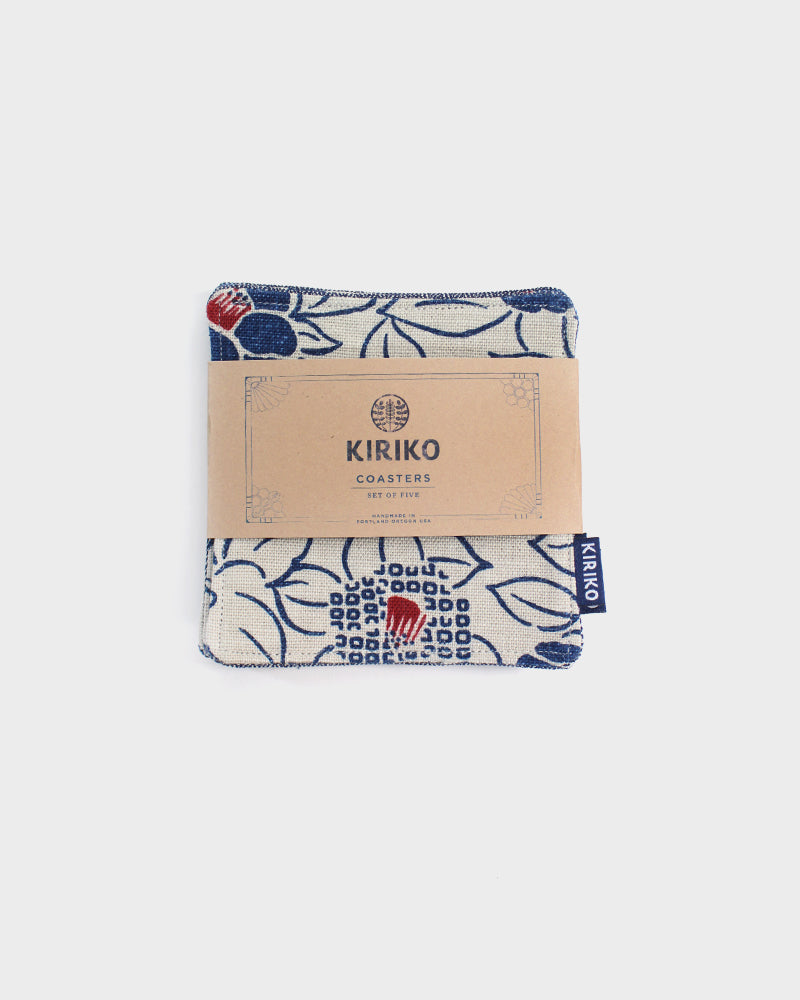 Coaster Set of 5, Cream and Indigo Tsubaki
