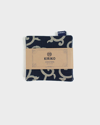 Coaster Set of 5, Indigo Karakusa