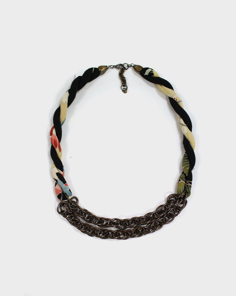 Boet X Kiriko Boro Collar Necklace, Black, Yellow and Red, Floral