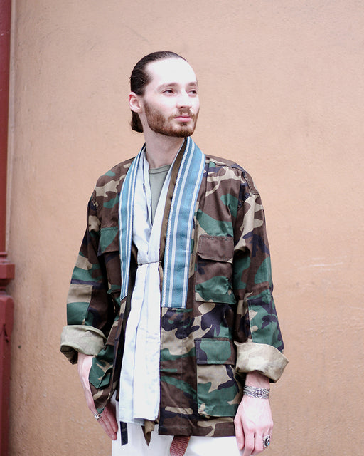 Camo Patched Military Jacket, with Teal Men's Obi Collar