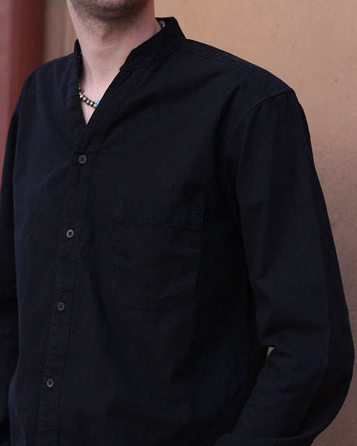 Button Up Shirt, Mandarin Collar, V-Neck, Long Sleeve, Black
