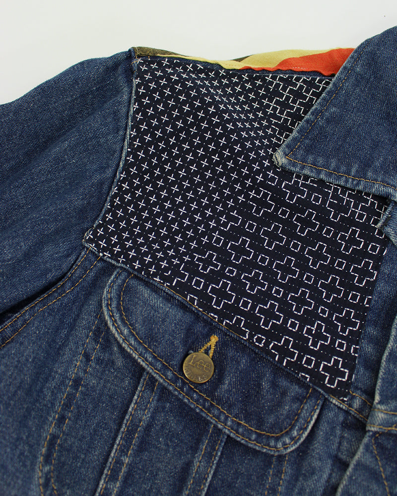One-of-a-Kind Lee 101 Denim Jacket, Indigo Sashiko (M)