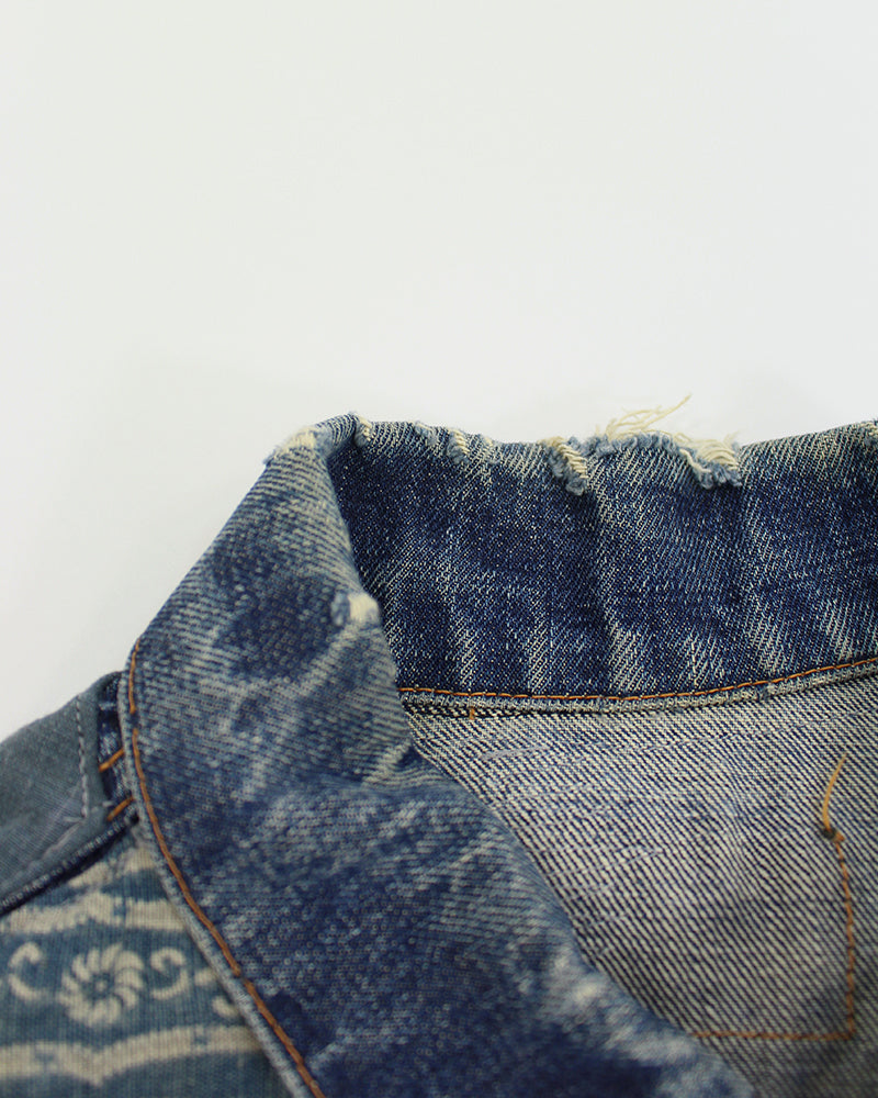 One-of-a-Kind Levi Denim Jacket, Abstract Kiku (M/L)