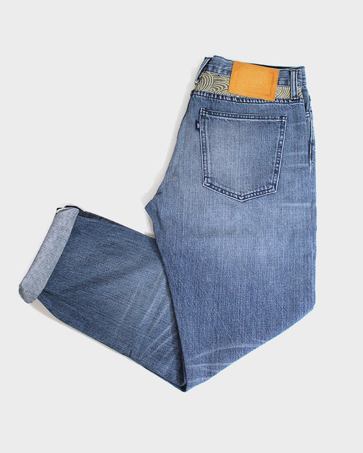 Premium Japanese Selvedge Jeans, Vintage Wash, Mens, with Nami