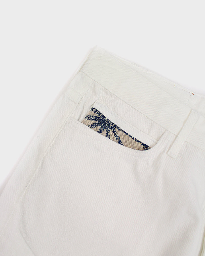 Premium Selvedge White Denim, Mens, Asanoha