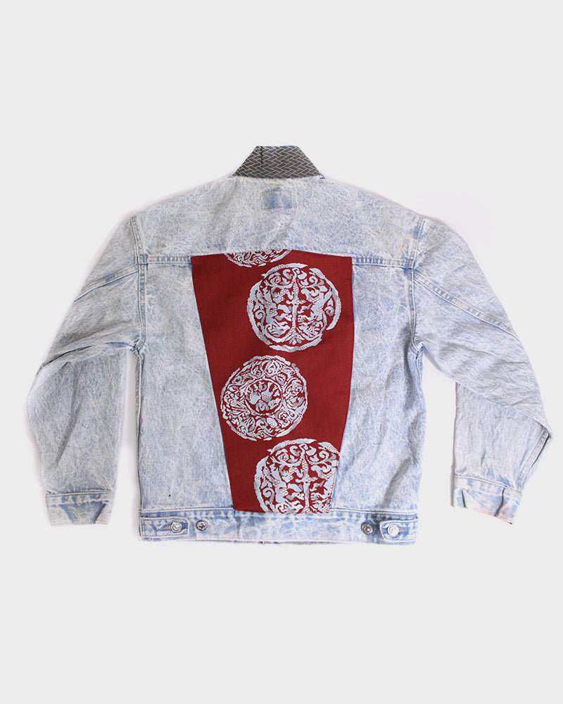 One of a Kind Levi Jacket with Obi Collar, and Red Obi Abstract Mark