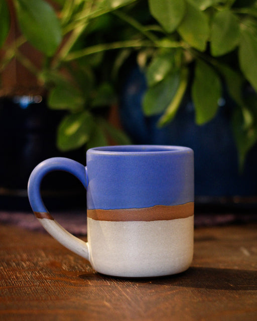 Dina Blue White Stripe Large Stoneware Mug