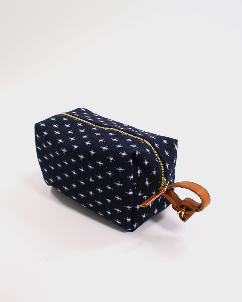 Dopp Kit, Indigo and White Kasuri Crossweave