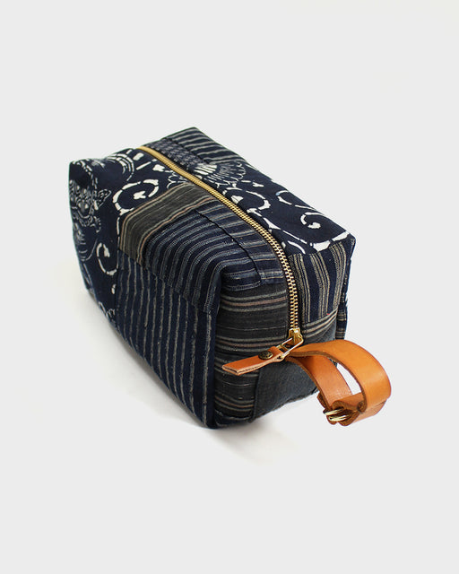 Boro Dopp Kit, Multi Shima, White Crane on Indigo