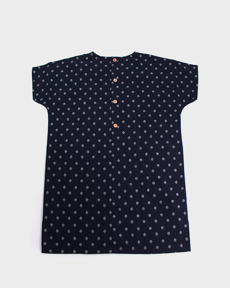 Oversized Pocket Dress, Dark Indigo Polka Dots