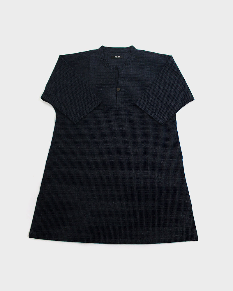 Oversized A-Line Pocket Dress, Skinny Blue Weave with Front Button