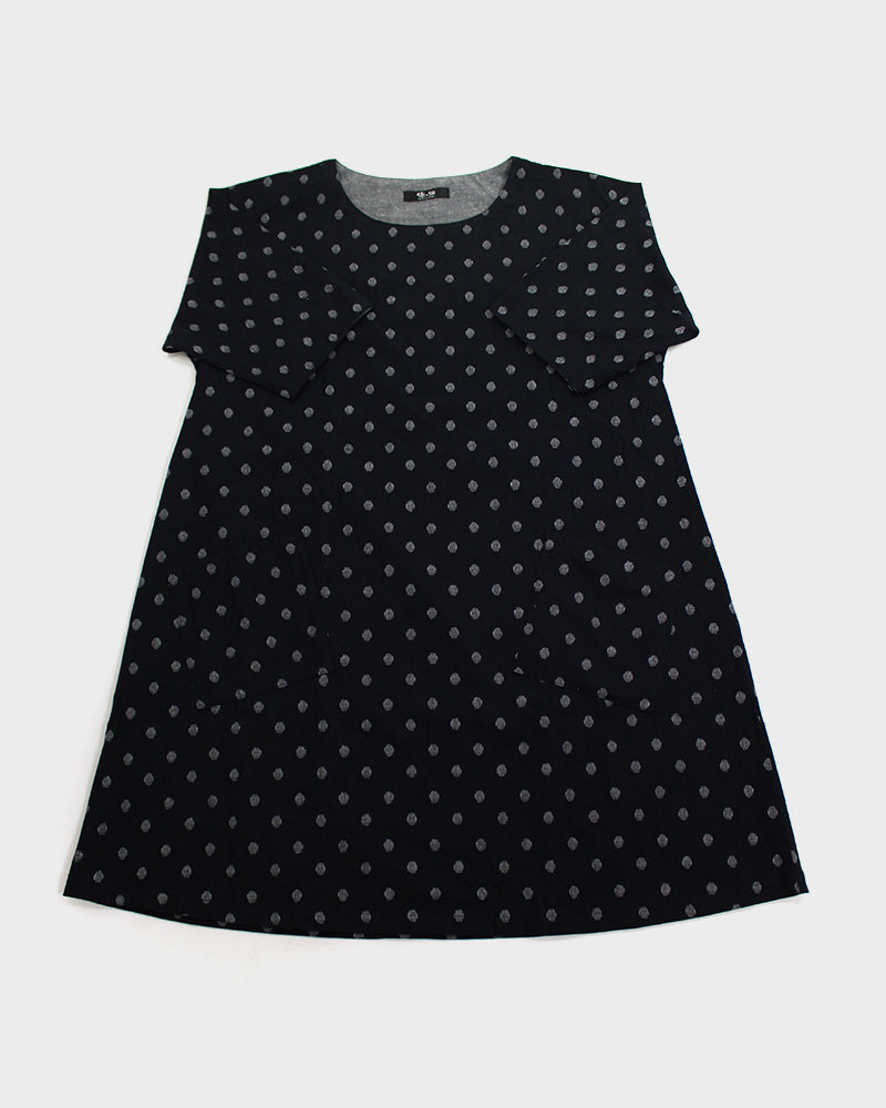 Oversized A-Line Pocket Dress, Indigo Polka Dot