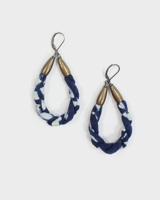 Boet X Kiriko, Boro Hoop Earrings, Katazome, Indigo and White