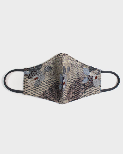 Face Mask, Ecru Patchwork Style, Grey Cord