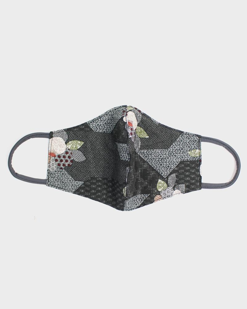 Face Mask, Charcoal Quilted Patchwork Style, Flowers (Filter Pocket)