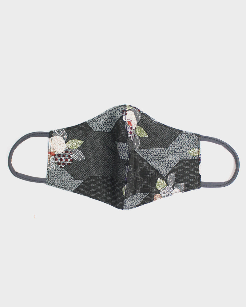 Face Mask, Charcoal Patchwork Style, Flowers