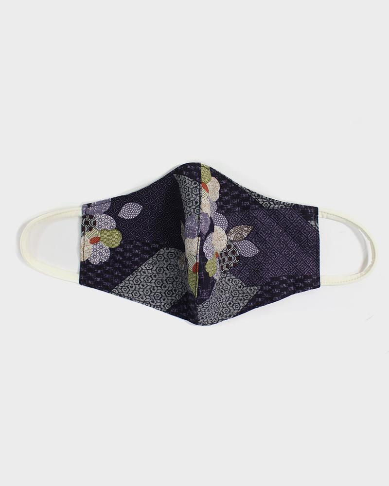 Face Mask, Purple Quilted Patchwork Style, Flowers (Filter Pocket)