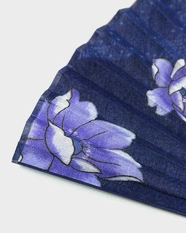 Vintage Fan, Blue With Purple Floral
