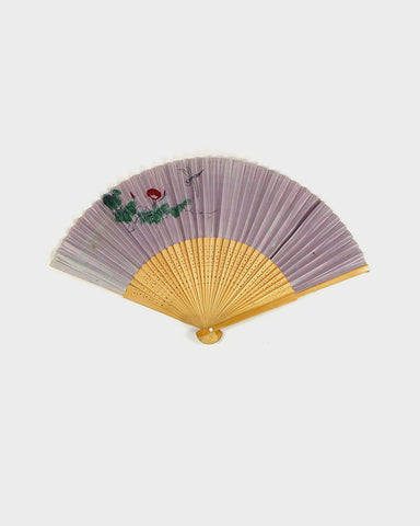 Vintage Fan, Purple With Dragonfly and Plants