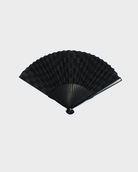 Vintage Fan, Black Dotted Checkers