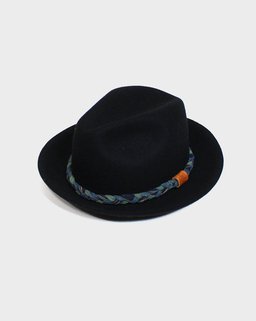 Kiriko Black Wool Felt Hat, with Braided Indigo and Shima Fabric