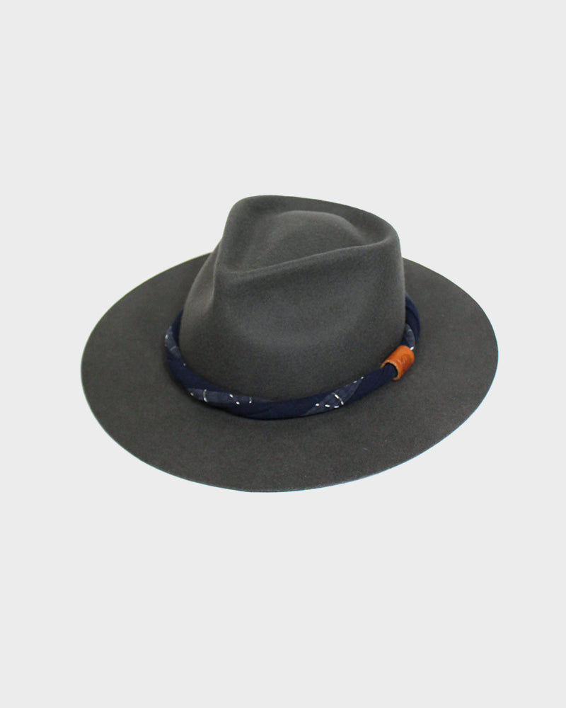 Kiriko Two Tone Wool Felt Hat, with Twisted Indigo Sashiko Fabric