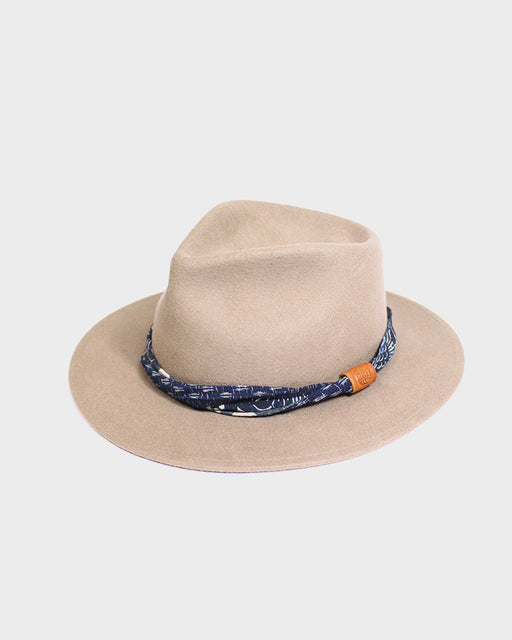 Kiriko Tan Wool Felt Hat, with Indigo Boro Kasuri