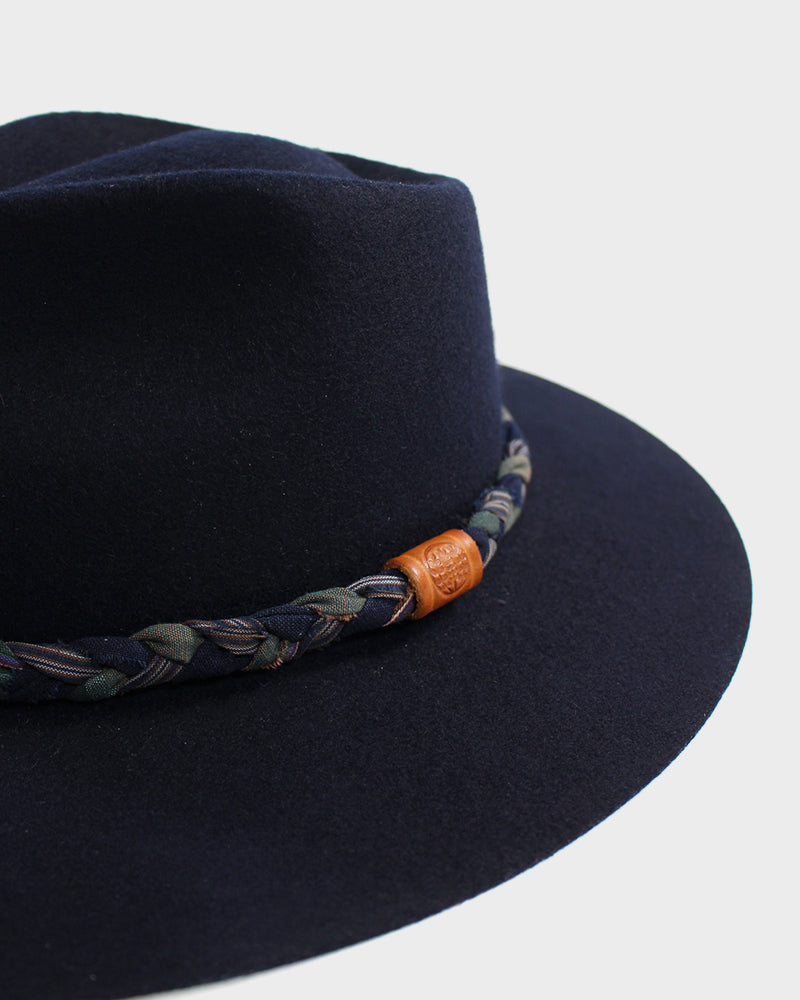 Wool Felt Hat, Dark Navy, with Braided Boro, Green and Shima